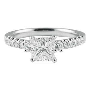 1.10 carat Princess Cut Diamond White Gold Engagement Ring