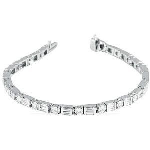alternating round double baguette diamonds white gold tennis bracelet new york jewelry