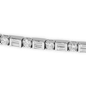 alternating round double baguette diamonds tennis bracelet white gold new york jewelry