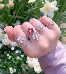 diamond flower rings on ladies hand color gemstones lb studio jewelry