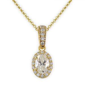 oval diamond halo pendant yellow gold pave diamond details