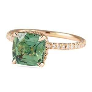 green sapphire rose gold engagement ring pave diamond band