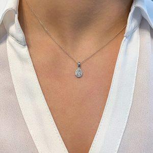 PETITE OVAL DIAMOND HALO PENDANT