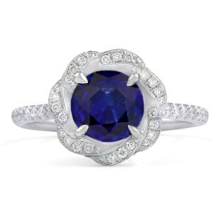 blue sapphire twisted halo ring design